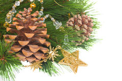 Chrismas decorations and pine cones. Isolated on white Stock Photo