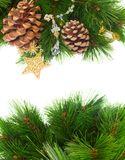 Chrismas decorations and pine cones. Isolated on white with copy space Stock Photography