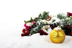 Chrismas decorations on white snow for background royalty free stock photography