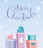 Chrismas-Geschenkvektor-Grußkarte Lizenzfreies Stockfoto