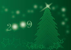 Chrismas Green Shining Tree Card 2009 royalty free stock photos