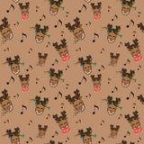 Chrismas i nowego roku wzór z deers i muzyką ilustracja wektor