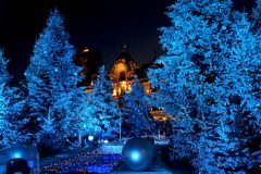 Chrismas in Monte-Carlo. Christmas decoration by night in front of Monte-Carlo casino i French Riviera Stock Photos