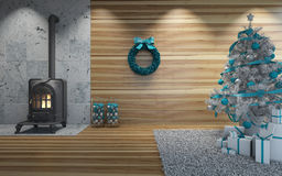 Chrismas near fireplace. Christmas with wooden wall near fireplace Royalty Free Stock Photography