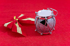 Chrismas or new year tree decoration. On red cloth Stock Photo