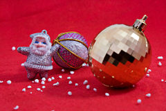 Chrismas or new year tree decoration. On red cloth Royalty Free Stock Photography