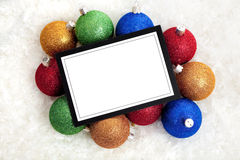 Chrismas Notecard or message with baubles royalty free stock photo