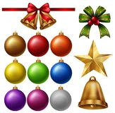 Chrismas ornaments with balls and bells vector illustration
