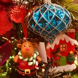 Chrismas Ornaments. Beautiful Christmas ornaments on a Christmas tree Royalty Free Stock Image