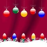 chrismas ornaments red snow Στοκ Εικόνα