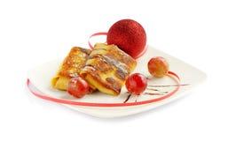 Chrismas pancake and ball Stock Photo