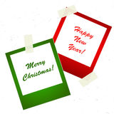 Chrismas photo stickers with tape. For your design Royalty Free Stock Photography