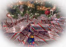 Chrismas Presents Under a Christmas Tree Stock Photography
