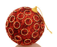 Chrismas red bright ball. Isolated Royalty Free Stock Photo