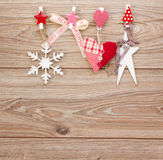 Chrismas  retro decorations hanging on rope Royalty Free Stock Image