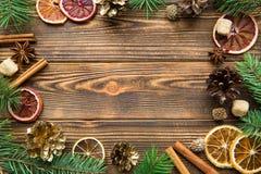 Chrismas semestrar brun bakgrund Torkade sicilian apelsiner med kanelbruna pinnar, anis och guld- kottar kopiera avstånd royaltyfri foto