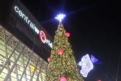 Chrismas skärm på den centrala världen, Bangkok Royaltyfri Fotografi