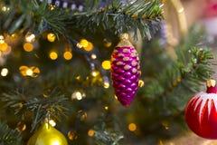 Chrismas tła drzewny kolorowy bokeh Fotografia Royalty Free