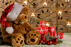 Chrismas teddy with gifts stock images