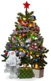 Chrismas träd med jultomten och gåvor Fotografering för Bildbyråer