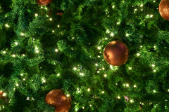 Chrismas träd med ljus på natten Arkivfoto