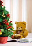 Chrismas tree and bear Royalty Free Stock Images