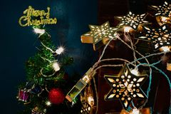 Chrismas tree and star light. Chrismas tree decorate with star light Royalty Free Stock Images