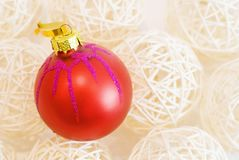Chrismas tree decoration red ball Royalty Free Stock Image