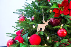 Chrismas tree and red ballใ Stock Photos