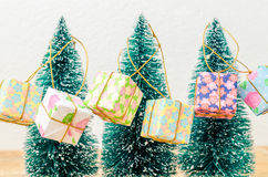 Chrismas trees with gift boxes on white background Royalty Free Stock Photography