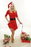 Chrismas woman show the leg royalty free stock images