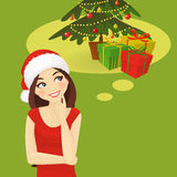 Chrismas woman thinking Stock Images