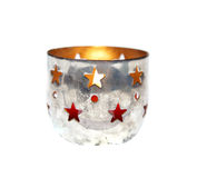 Chrismas xmas candles silver holder cup isolated vintage advent Royalty Free Stock Image