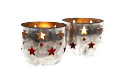 Chrismas xmas candles silver holder cup isolated vintage advent Royalty Free Stock Photo