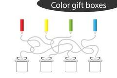 Chrismaslabyrint spel, labyrint en het kleuren van de giftdozen, peuteraantekenvelactiviteit voor jonge geitjes, taak voor de ont vector illustratie