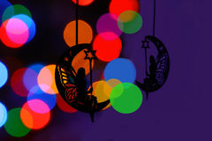 Chrismass decorations black silhouette of fairy on the moon Royalty Free Stock Images