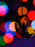 Chrismass decorations black silhouette of fairy on the moon Stock Photos