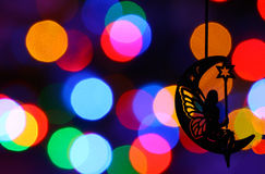 Chrismass decorations black silhouette of fairy on the moon Stock Photo