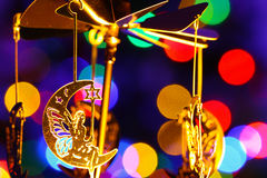 Chrismass decorations merry go around of fairies on the moon Royalty Free Stock Images