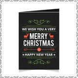 Chrismtas card with dark background and pattern. For web design and application interface, also useful for infographics. Vector illustration Stock Image