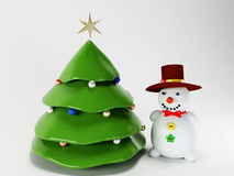 Chrisrmas tree and snowman Stock Image