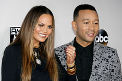Chrissy Teigen and John Legend. At the 2016 American Music Awards held at the Microsoft Theater in Los Angeles, USA on November 20, 2016 royalty free stock photos