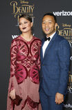 Chrissy Teigen and John Legend. At the Los Angeles premiere of `Beauty And The Beast` held at the El Capitan Theatre in Hollywood, USA on March 2, 2017 Royalty Free Stock Photography