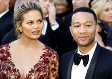 Chrissy Teigen and John Legend. At the 88th Annual Academy Awards held at the Hollywood & Highland Center in Hollywood, USA on February 28, 2016 Royalty Free Stock Photos