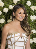 Chrissy Teigen. Supermodel Chrissy Teigen arrives on the red carpet at the 71st Annual Tony Awards held at Radio City Music Hall in New York on June 11, 2017 Stock Images