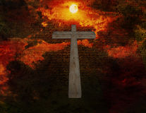 The Christ. Cross floats in space with new testament latin text Royalty Free Stock Image