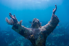 Christ of the Abyss. In Florida Keys Barrier Reef stock images