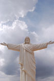 Christ against blue sky. Cristo Blanco statue in Peru Royalty Free Stock Image