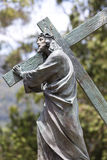 Christ antique statue carrying the Christian cross in Bogota Royalty Free Stock Image