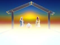christ bożych narodzeń ściąga Jesus Josef Mary narodzenia jezusa scena Zdjęcia Stock